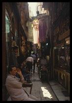 Egypt, Cairo, Busy passageway in the Khan el Khalili market.