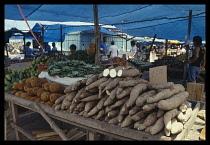 Brazil, Amazonas, Manaus, Manioc stall in market