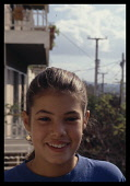Greece, Teen, Girl, Portrait of girl with hair tied back.