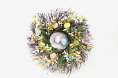 Festivals, Religious, Easter, Floral wreath decorated with colourful eggs.