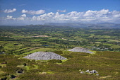 Ireland, County Sligo, Castlebaldwin, Carrowkeel Megalithic Cemetery, View from the summit over two of the cairns..