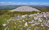 Ireland, County Sligo, Castlebaldwin, Carrowkeel Megalithic Cemetery, View from the summit over one of the cairns..