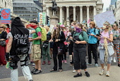England, London, Extinction Rebellion protesters outside the Bank of England.