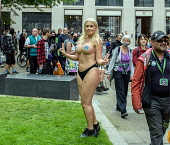 England, London, Laura Amherst, Extinction Rebellion protester from Brighton, topless protest in the City.