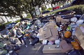 England, East Sussex, Brighton,  Overflowing bins on Montpelier Crescent during refuse collectors strike.